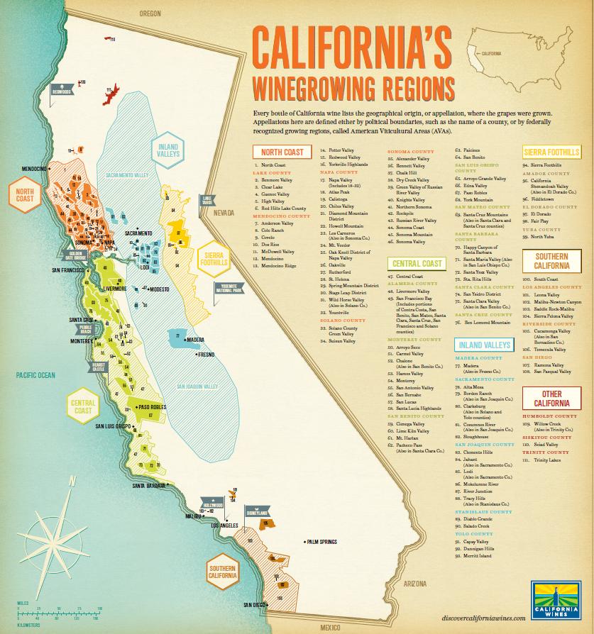 Piemont Weinbau Karte.Kalifornien Wein Plus Glossar